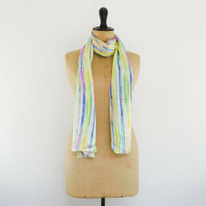 Sorbet Stripe Print Luxury Silk Scarf