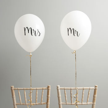 Mr And Mrs Wedding Chair Back Balloons