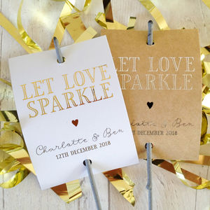 Set Of 12 'Love' Personalised Wedding Sparkler Covers - sparklers