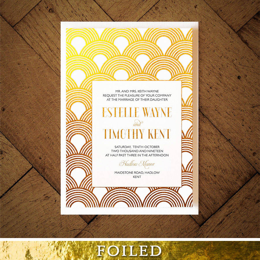 Colorful Great Gatsby Themed Wedding Invitations Image Invitation