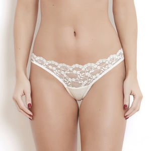 Ivory Silk And French Lace Sophia Low Rise Knicker - briefs