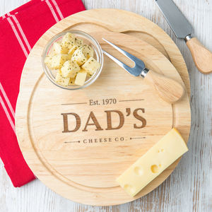 Personalised Name And Birth Year Cheese Board Set - 5th anniversary: wood