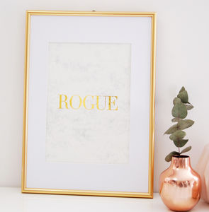 Fashion Print Framed Gold Marble Wall Art Rogue