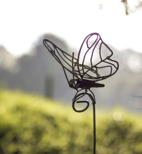 Lace Butterfly On Rod Recycled Metal Garden Sculpture - art & decorations