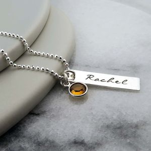 Name And Birthstone Necklace In Sterling Silver