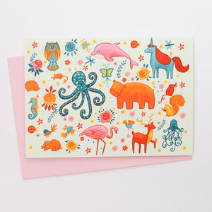 A Colourful Magical Animals Blank Greetings Card