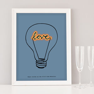 Romantic 'Love' Lightbulb Art Print - typography