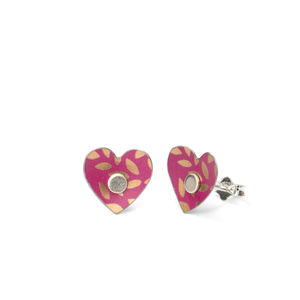 Fuchsia Pink And Gold Leaf Print Heart Ear Studs - earrings