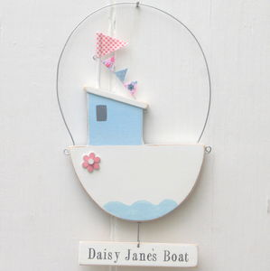 Personalised Wooden Fishing Boat With Flower And Sign - door plaques & signs