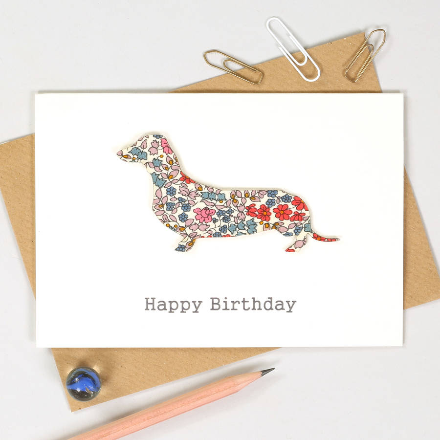 Multi Fabric White Card Personalised Sausage Dog