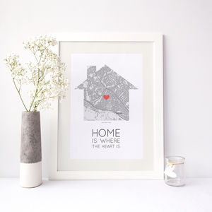 'Home Is Where The Heart Is' Map Print - maps & locations