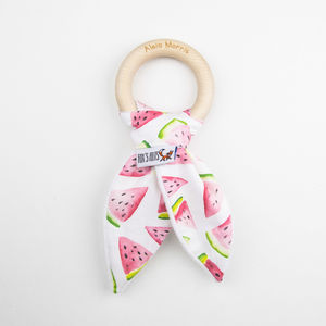 Watermelon Personalised Teething Ring - gifts for babies