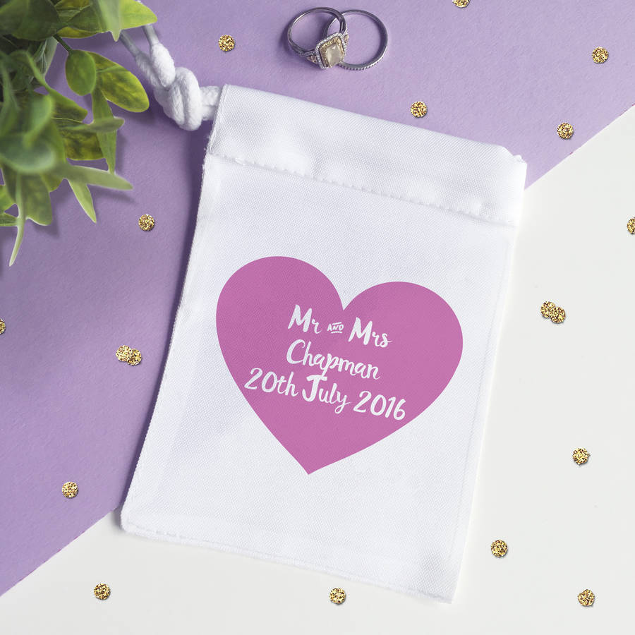 personalised wedding ring bag by sarah hurley | notonthehighstreet.com