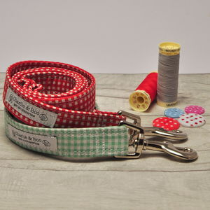 Red Or Green Gingham Dog Lead/Leash - new in pets