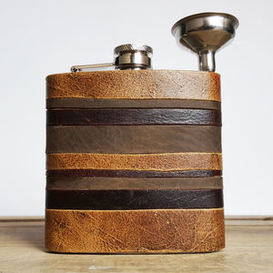 Leather Strips Hip Flask Custom Initials - hip flasks