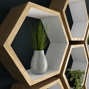 Hexagon Shelves Hand Painted White And Oiled Oak - shelves
