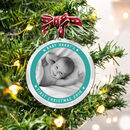 Personalised Baby's First Christmas Pastel Photo Bauble