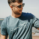 Mens Retro Blue Hand Printed 'Robin Hood's Bay' T Shirt