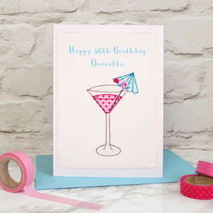 'Cocktail' Handmade Personalised Birthday Card