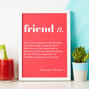 Personalised 'Friend' Dictionary Print - prints & art sale