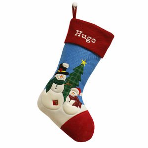 Personalised Blue Christmas Snowman Stocking - christmas sale