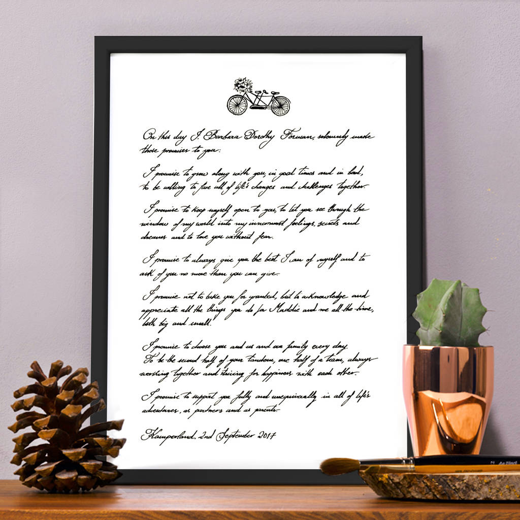 Personalised Handwritten Love Letter / Wedding Vows