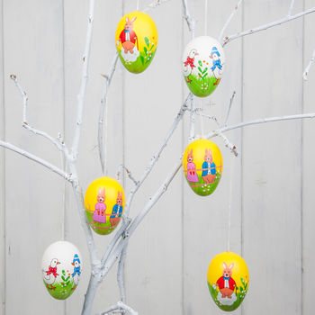 Six Painted Easter Tree Decorations In Personalised Bag