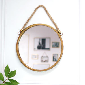 Round Rope Handled Gold Brass Scandi Porthole Mirror - mirrors