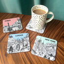 Set Of Four City Illustration Coasters