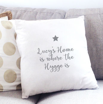 Home Is Where The Hygge Is Personalised Cushion Cover