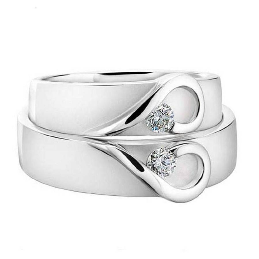 White Gold Wedding Band.His And Hers White Gold Heart Wedding Bands
