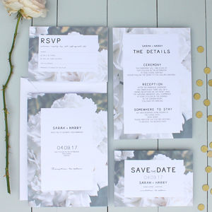 Floral Rose Wedding Invitation - menu cards