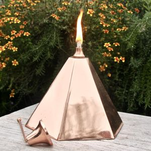 Copper Pyramid Garden Oil Lantern - table decoration