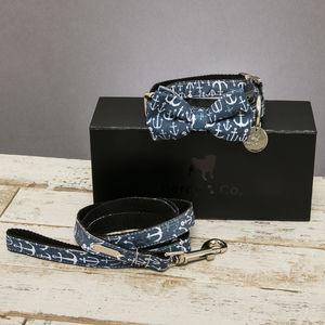 The Salcombe Nautical Dog Collar Bow Tie And Lead Set - pets sale