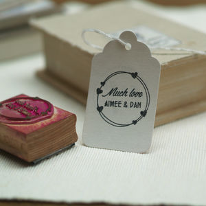 'Hearts Much Love Wedding Favours Stamp'