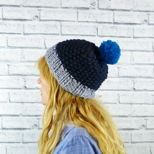 Colour Block Blues Bobble Hat - new in fashion