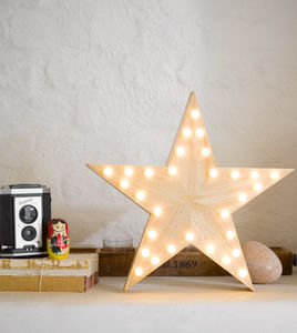 Wooden LED Star Light - christmas lighting