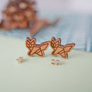 Geometric Wooden Fox Earrings