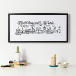 Oxford City Skyline Fine Art Print - mixed media & collage
