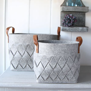 Grey Felt Harlequin Storage Bag - living room