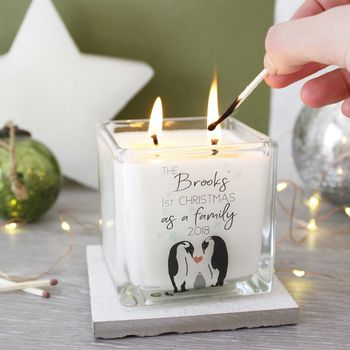 First Family Christmas Penguin Scented Square Candle