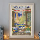 Vintage New Zealand Christchurch Art Deco Travel Poster