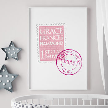 New Baby Gift Personalised Birth Details Print