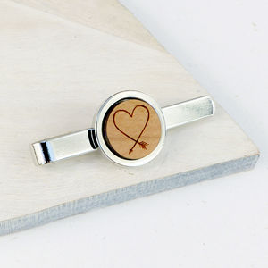 Wooden Heart Arrow Tie Bar - men's accessories