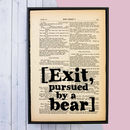 Shakespeare 'Exit, Pursued By A Bear' Stage Direction Book Page Print