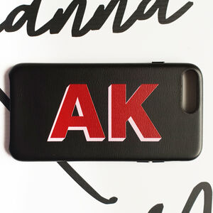 Personalised Black And Red Pu Leather Phone Case