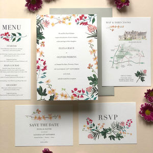 Mediterranean Botanical Wedding Invite Sample