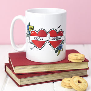 Personalised 'Tattoo' Hearts Mug - engagement gifts