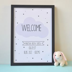 Cloud And Stars Baby Birth Nursery Print
