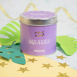 'Aquarius' Zodiac Vanilla And Coconut Scented Candle - candles & home fragrance